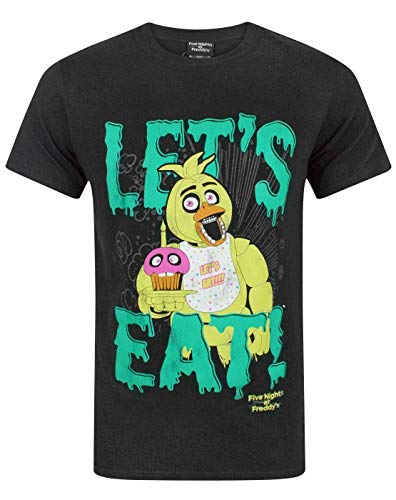 FIVE NIGHTS AT FREDDY'S Let's Eat Men's T-Shirt (Large)