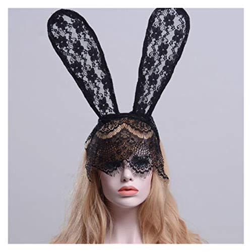 Demoyu Nueva Sexy Encaje Negro Mascarada Accesorios exóticos Mujeres Halloween Traje Fiesta Conejo Conejo Orejas Encaje Ojo máscara Sombrero de Cabeza (Color : Negro)