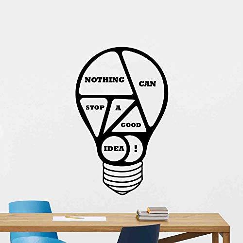Calcomanía de pared de oficina, cartel de bombilla, nada puede detener una buena idea, cita motivacional, pegatina de regalo, decoración de negocios, mural A7 42x67cm
