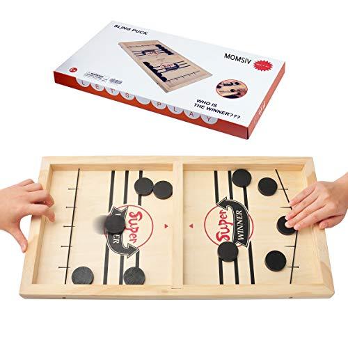 KETIEE Hockey Brettspiel, Fast Sling Puck Spiel, Tisch Hockey Spielzeug, Interaktive Eltern-Kind Katapult Brettspiel, Schulspiel Brettspiel Holz Hockey für Erwachsene