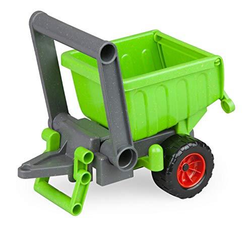 Lena 04214 EcoActives grün, Hänger ca. 20 cm für EcoAktives Traktor, Anhänger aus Kunststoff mit natürlichem Holzgeruch durch Holzanteil, Spielfahrzeuganhänger für Kinder ab 2 Jahre