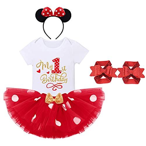 FYMNSI Baby Mädchen Erste 1. Geburtstag Outfit Minnie Maus Kostüm Baumwolle Kurzarm Strampler Body Gepunktet Tütü Rock Ohr Stirnband Fußblume 4tlg Bekleidungsset Rot Mein 1. Geburtstag 1 Jahr