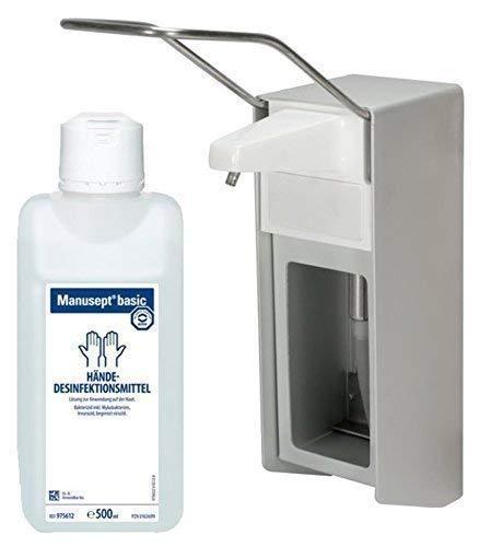 500 ml Wandspender Aluminium gebürstet von Medi-INN Wandhalter + Zubehör Auswahl Sterillium (Spender+Manusept basic)