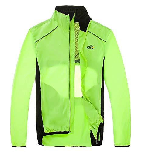 Pvnoocy Chaqueta de lluvia para bicicleta, transpirable para hombre, cortavientos con tira reflectante, impermeable
