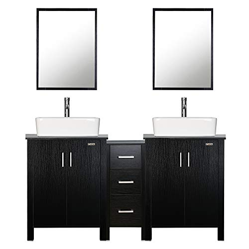 "eclife 60"" Bathroom Vanity Sink Combo Black W/Side Cabinet Vanity White Ceramic Vessel Sink and Chrome Bathroom Solid Brass Faucet and Pop Up Drain, W/Mirror (T03 2B04)"
