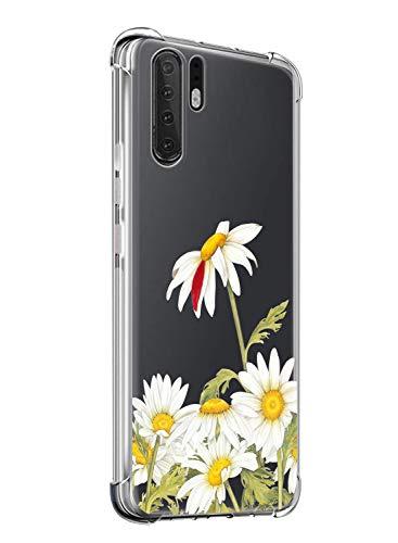 Suhctup Coque Compatible avec Huawei Honor 9i/Honor 9N,Étui Houssee de Transparent Motif Mignon [Antichoc Coussin d'air] Crystal Clear Souple Silicone TPU Bumper Protection de Cover Case,Fleurs 1