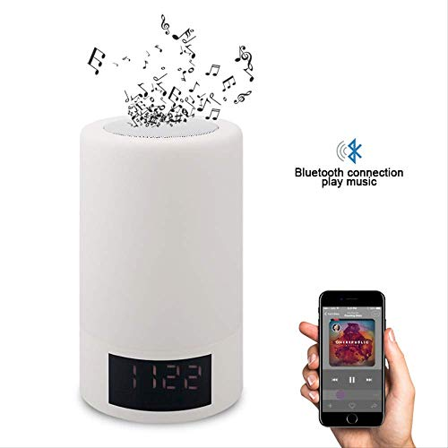 Guo luidspreker, draadloos, Bluetooth, intelligent, LED, bedlampje, kleurrijk licht, met wekker, subwoofer, wit