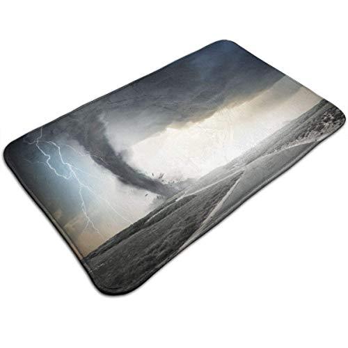 AoLismini Plush Bath Mat, Thunder Rolling On The Road Fume Disaster Monochrome Bathroom Rug with Non Slip Backing