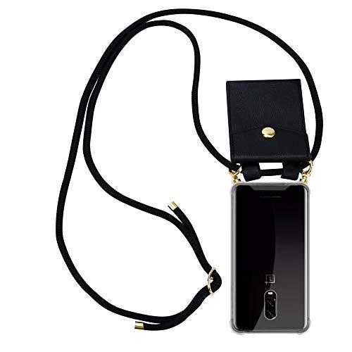 Cadorabo Handy Kette für OnePlus 6T in SCHWARZ – Silikon Necklace Umhänge Hülle mit Gold Ringen, Kordel Band Schnur & abnehmbarem Etui – Schutzhülle