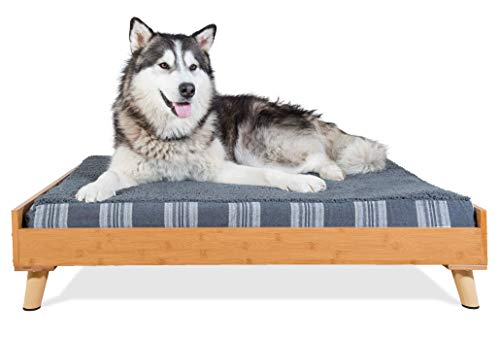 Furhaven Pet Dog Bed Frame | Mid-Century Modern Style Bed Frame Furniture for Pet Beds & Mattresses, Bamboo, Jumbo