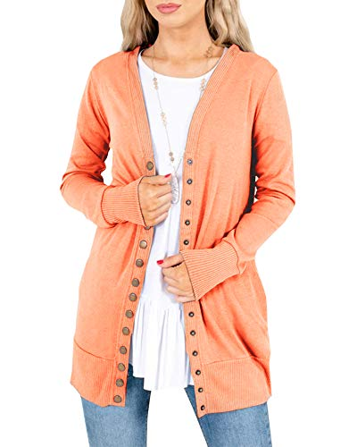 Womens Long Sleeve Snap Button Knitted Cardigans V Neck Solid Basic Cute Knitwear with Pockets Orange