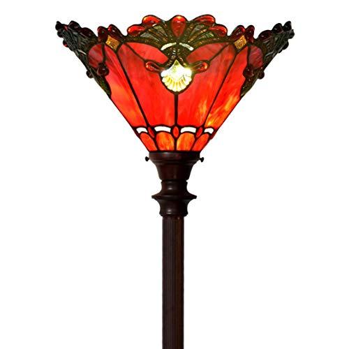 Bieye L30682 Tiffany-Stil Glasmalerei Barock Torchiere Stehlampe mit 13 Zoll breiten Lampenschirm und Metallfuß, 71 Zoll groß, rot