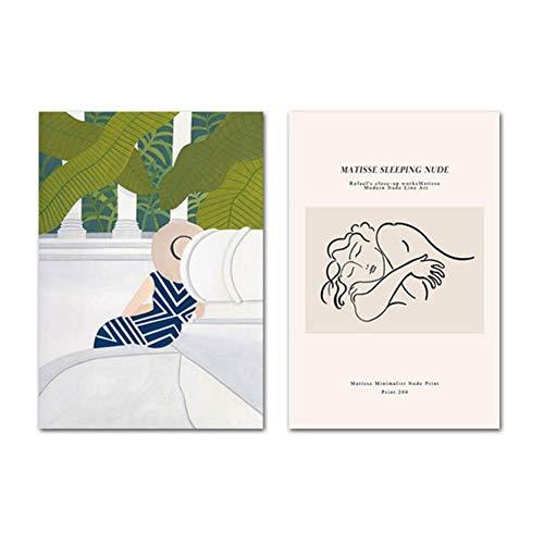 A&D Matisse Kunst Abstrakte Malerei Strichzeichnung Frau Einfache Leinwand Wand Poster Nordic Print Dekorative Bild Moderne Wohnkultur-50x70cmx2pcs-Kein Rahmen