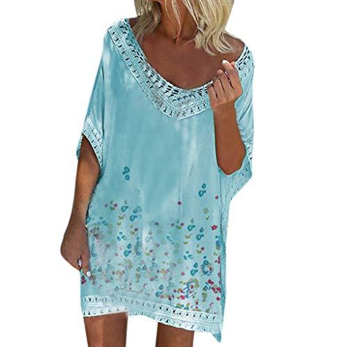 Lenfesh Sommerkleid Damen Kleider Loose Casual Strandkleid Cover Up Tunika MiniKleid s V-Ausschnitt Häkeln Badeanzug vertuschen für Frauen Loose Beach Bikini Badeanzug
