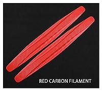 Yan firm 40.5 x 5cm 2/4ピース車の前部後部バンパー保護具の警備員の自動ゴム製ステッカーブラックユニバーサルシラントリムカーのスタイリング (Color : Carbon fiber red 2pc)