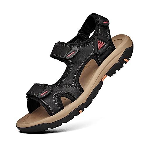 Fnho Botas de montaña Deportivas,Zapatos de Senderismo al Aire Libre,Sandalias Deportivas al Aire Libre, Playas Transpirables de Fondo Suave-Negro_46