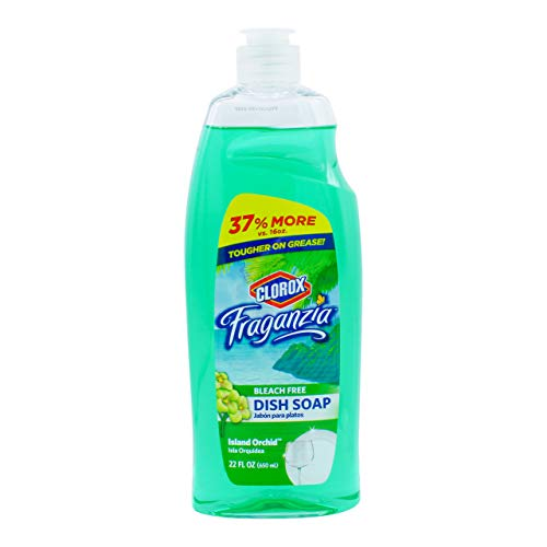 Clorox Fraganzia Liquid Dishwashing Soap Cuts Through Tough Grease FAST Quick Rinsing Formula Washes Away Germs A Powerful Clean You Can Trust, Island Orchid Scent, 22 Ounces