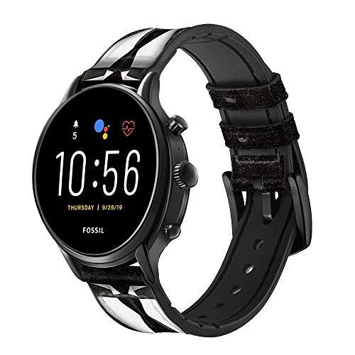Innovedesire Men Suit Correa de Reloj Inteligente de Cuero y Silicona para Fossil Wristwatch Tamaño (20mm)