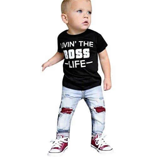K-youth Conjuntos Bebé Niño 1-5 Años Bebé Ropa Niño Camiseta Manga Corta T-Shirt 'Livin' The Boss' Tops y Pantalones Roto Agujero Jeans Conjunto para Niños Verano Regalo de Reyes