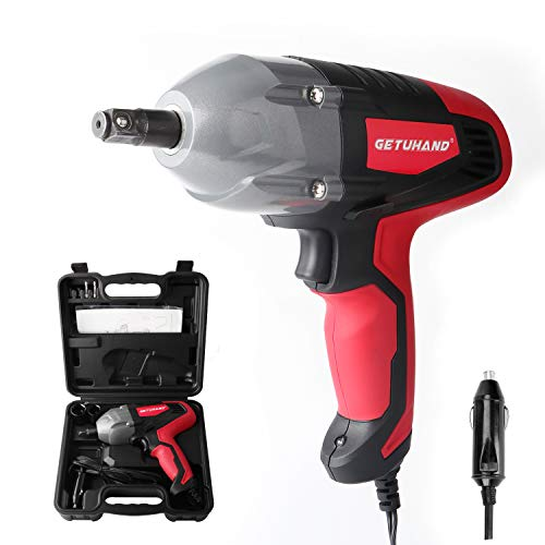 "GETUHAND Electric Impact Wrench 1/2 Inch & 12 Volt 400N.M 300ft-lbs Max Torque with 1/2"" Strong Square Drive, Portable Car Impact Wrench Kit with Sockets and Carry Case"