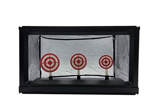 Zielscheibe mit Kugelfang Netz - 2 in 1 Ziele für Softair - Zielscheibe o. 3 klappbare Ziele (mechanisch) (Schwierigkeit: Schwer), Softair bis 0,5 Joule - Abmessungen: 38x19x22 cm (Ziel: 5-7 cm)