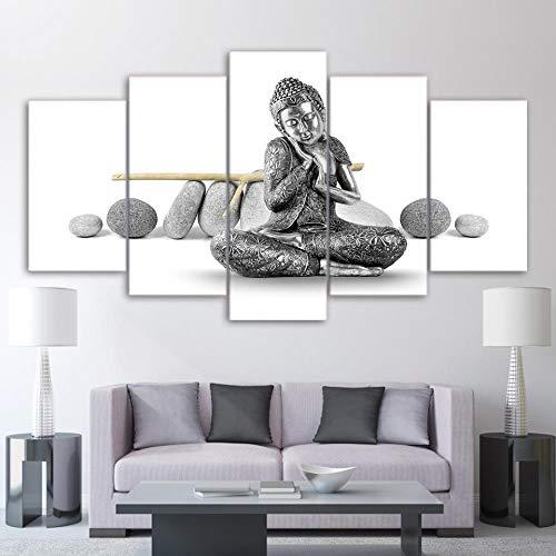 DXZJN 5 pinturas sobre lienzo Arte de la pared de lona Pintura de la lona Póster Disfraz de arte Buda religión Foto Lienzo Arte HD Imprimir Inicio Decoracion Caricatura Niño Oficina Sala 200X100CM