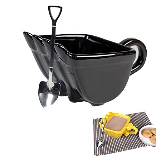 HHIAK666 Bagger Eimer Kaffeebecher, Creative BaggerlöFfel Keramik Eimer Tasse, Eimer Modell Neuheit Becher Mit SchaufellöFfel Kaffeetassen Geschenk schwarz