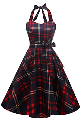 Topdress Women'sVintage Polka Audrey Dress 1950s Halter Retro Cocktail Dress Red Plaid S New