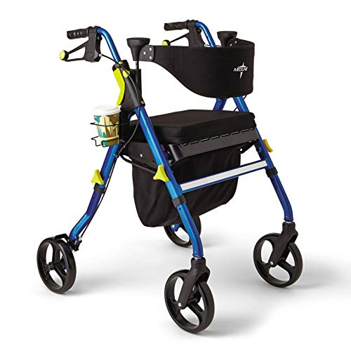 Medline Premium Empower Rollator Walker with Seat Folding Rolling Walker with 8inch Wheels Blue