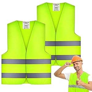 WELLXUNK® Chalecos de Seguridad Alta Visibilidad, 2 Piezas Chaleco Reflectante, Chalecos de Seguridad para Actividades nocturnas al Aire Libre o Traje de Trabajador de la construcción(56 x 68cm)