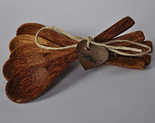 CORIMBA® - Coconut Spoon | Echte Kokosnuss-Löffel | 100% natürlich, handgefertigt & plastikfrei | 5er-Set (Pale Wood)