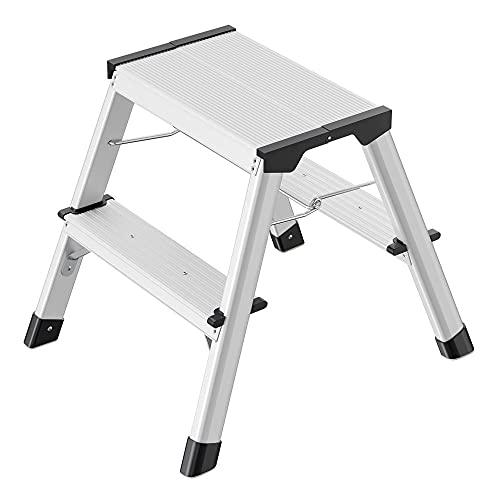 Hailo D60 StandardLine Alu-Klapptritt-Leiter | 2x2 Stufen belastbar bis 150 kg | Trittleiter mit Klappsperre | Füße mit Soft-Grip-Sohle | platzsparend zusammenklappbar | Aluleiter rostfrei | silber