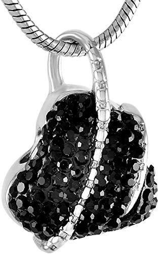 TYBM Novedad Collares Colgantes Maravilloso Collar con Colgante De Hueso De Corazón De Cristal De Joyería para Mujeres Adolescentes (Plateado Negro)