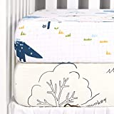 TILLYOU 2-Pack Printed Fitted Crib Sheet Set for Boys or...