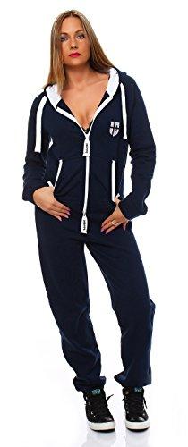 Hoppe Gennadi Damen Jumpsuit Onesie Jogger Einteiler Overall Jogging Anzug Trainingsanzug - Slim FIT,blau,XS