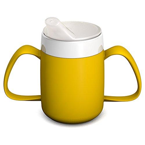 Ornamin 2-Henkel-Becher mit Trink-Trick 140 ml gelb mit Schnabelaufsatz (Modell 815 + 806) / Spezial-Trinkhilfe, Tremor-Becher, Schnabelbecher
