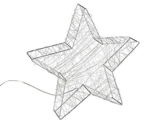 Idena 30470 - LED Dekoleuchte Stern aus Metall, mit 120 LED in warm weiß, batteriebetrieben, 6 Stunden Timer Funktion, Innen und Außenbereich, ca. 38 x 36 x 6 cm, für Weihnachten, als Stimmungslicht
