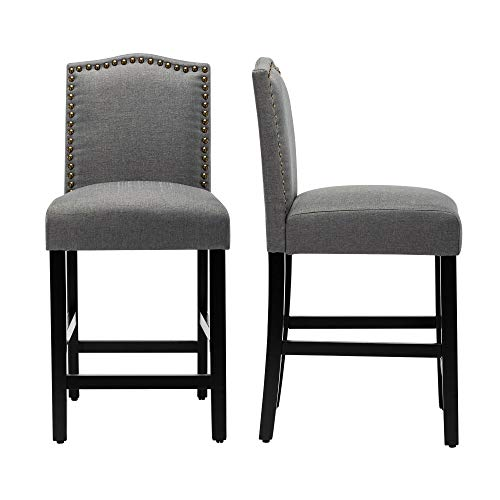LSSBOUGHT Counter Stools,24 inches Upholstered Bar Chairs with Solid Wood Legs and Nailed Trim Set of 2(Gray)