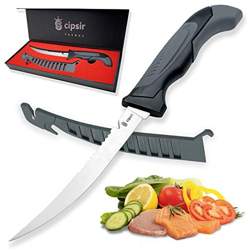Meat and fish Fillet Knife - Curved salty water resistant german steel 7 inch blade with sheath, sharpener and gift box, ideal for filleting and deboning indoor or outdoor.