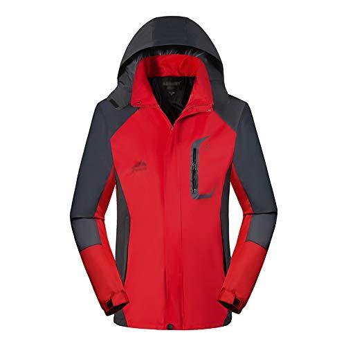 KINDOYO Veste D'extérieur pour Hommes - Imperméable Respirant Mode Loisirs Imperméable Montagne Marche Randonnée Vêtement Manteau, Rouge, EU 2XL=Tag 3XL