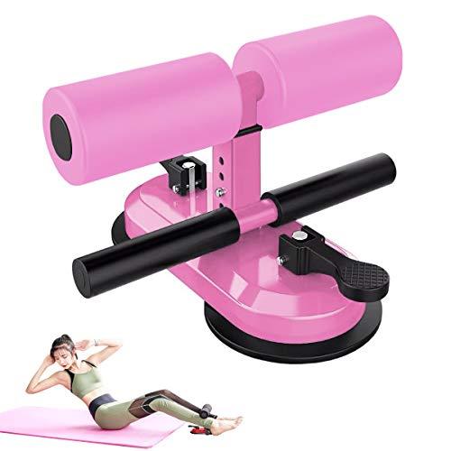 AQOTER Barra de sentarse portátil para el suelo, barra ajustable de auto-succión con 2 ventosas y 4 posiciones para hombres y mujeres, equipo de fitness en casa, rosa