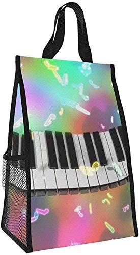 Bolsa de aislamiento plegable, bolsa de almuerzo portátil de música de piano, bolso de picnic de gran capacidad para viajes de oficina de trabajo