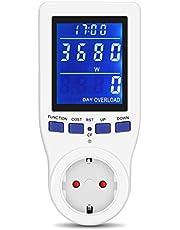 Leistungsmesser-Monitor, Power Meter Plug Stromverbrauch Monitor Stromverbrauch Wattmeter Home Power Monitor mit HD LCD Hintergrundbeleuchtung Display Volt Ampere Watt kWh Verbrauch