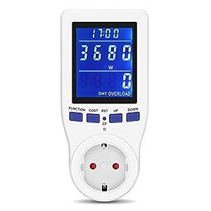 Monitor Medidor de Potencia, Enchufe Medidor de Potencia, Monitor de Uso de Electricidad, Consumo de Energía Eléctrica Monitor de Potencia para el Hogar de Vatios con Pantalla LCD Retroiluminada HD