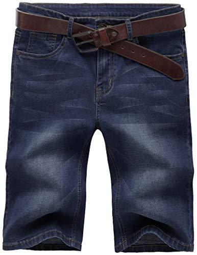 AITESEN N867 Herren Stretch Jeans Shorts Sommer Kurze Hose W28-W44 Dunkelblau-44