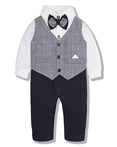 SOLOYEE Baby Junge Kleidung 3-18M Gentleman Strampler Taufe Anzüge Bowtie Langarm Formale Baby Jungen Bekleidung Sets, Grau 66, 6-9 Monate