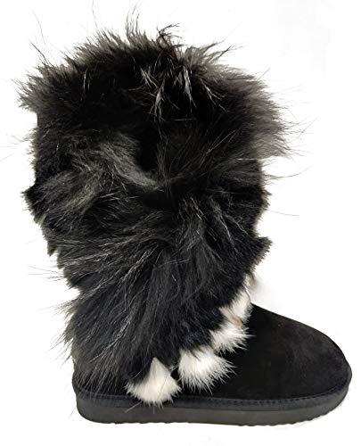 OOG Boots Fell Pelz Langstiefeln echtes Leder Schuhe Winterstiefeln Boot Qualitätsschuhe (37 EU, Schwarz (hoher Schaft 32cm))