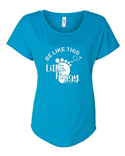 Trenz Shirt Company Women's This Little Piggy Stayed Home Funny Be Like This Piggy Dolman Top-Blue-Small