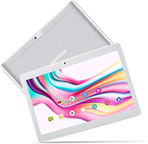 Tablet 10.1 Zoll RAYROW Tablet Pad, 2GB RAM, 64GB (32G ROM + 32G TF) Quad Core, Android 8.1, Dual SIM Kartensteckplatz, Dual Kamera Tablets mit 5 MP, GPS, Bluetooth, Google Play, WiFi, HD IPS (Weiß)