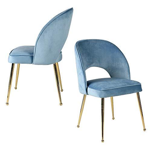 Aspect Genevieve Akzentstühle/Esszimmerstühle, 2 Stück, Enteneiblauer Samt, 49x47x84 cm